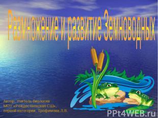 Размножение и развитие Земноводных Автор: Учитель биологии МОУ «Рождественская С