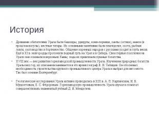 Древними обитателями Урала были башкиры, удмурты, коми-пермяки, ханты (остяки),