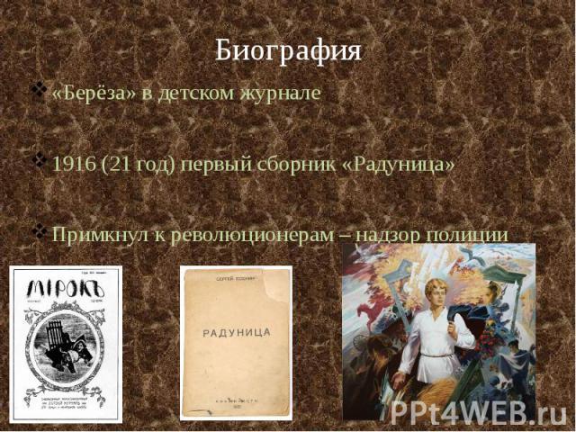 Биография «Берёза» в детском журнале 1916 (21 год) первый сборник «Радуница» Примкнул к революционерам – надзор полиции