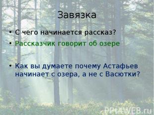Завязка С чего начинается рассказ? Рассказчик говорит об озере Как вы думаете по