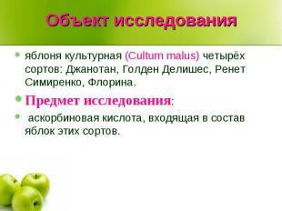 Объект исследования яблоня культурная (Cultum malus) четырёх сортов: Джанотан, Г
