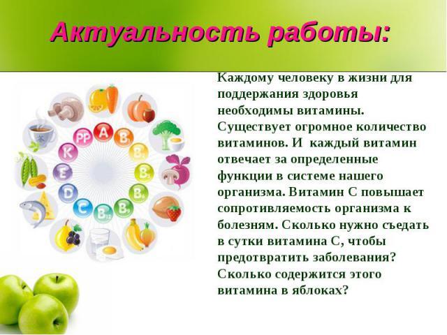 Актуальность работы: Каждому человеку в жизни для поддержания здоровья необходимы витамины. Существует огромное количество витаминов. И каждый витамин отвечает за определенные функции в системе нашего организма. Витамин C повышает сопротивляемость о…