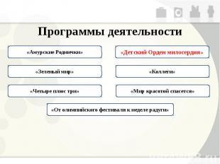 Программы деятельности