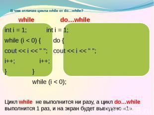 В чем отличие цикла while от do…while? while do…while int i = 1; int i = 1; whil