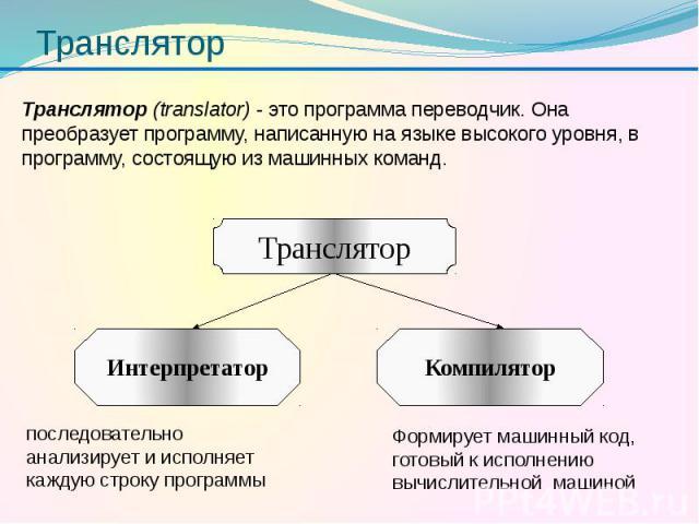 Транслятор Транслятор (translator) - это программа переводчик. Она преобразует программу, написанную на языке высокого уровня, в программу, состоящую из машинных команд.