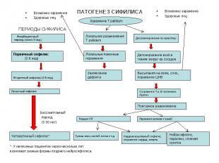 Бессимптомный период (3-30 лет) *- У нелеченых пациентов через несколько лет воз