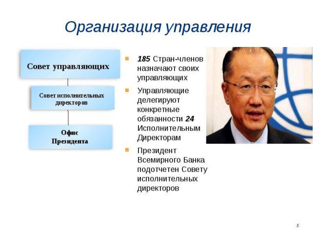 185 Стран-членов назначают своих управляющих 185 Стран-членов назначают своих управляющих Управляющие делегируют конкретные обязанности 24 Исполнительным Директорам Президент Всемирного Банка подотчетен Совету исполнительных директоров