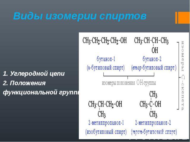 1. Углеродной цепи 2. Положения функциональной группы