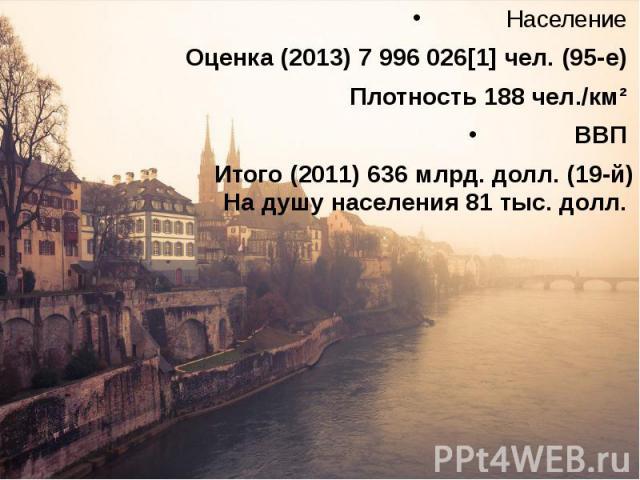 Население Население Оценка (2013)7 996 026[1] чел. (95-е) Плотность 188 чел./км² ВВП Итого (2011)636 млрд. долл. (19-й) На душу населения 81 тыс. долл.