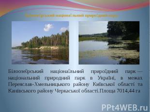 Білоозе рський націона льний приро дний парк— національний природний парк