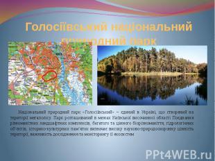 Голосіївський національний природний парк Національний природний парк «Голосіївс