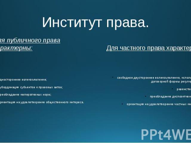 Институт права. Для публичного права характерны: