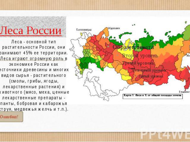 Леса России Леса - основной тип растительности России, они занимают 45% ее территории. Леса играют огромную роль в экономике России как источники древесины и многих видов сырья - растительного (смолы, грибы, ягоды, лекарственные растения) и животног…
