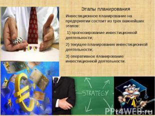 Этапы планированияИнвестиционное планирование на предприятии состоит из трех важ