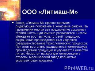 ООО «Литмаш-М» Завод «Литмаш-М» прочно занимает лидирующее положение в экономике