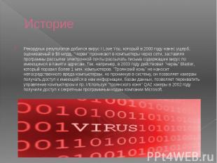 Историе Рекордных результатов добился вирус I Love You, который в 2000 году нане
