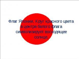 Флаг Японии. Круг красного цвета в центре белого флага символизирует восходящее