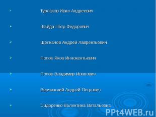Турлаков Иван Андреевич Шайда Пётр Фёдорович Щелканов Андрей Лаврентьевич Попов