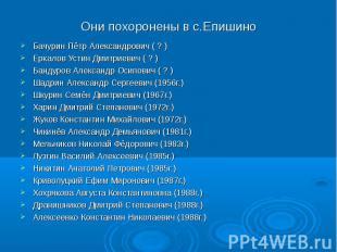 Они похоронены в с.Епишино Бачурин Пётр Александрович ( ? ) Еркалов Устин Дмитри
