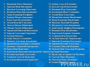 1. Поздняков Павел Иванович 23. Дубняк Алексей Климович 2. Завьялов Иван Викторо