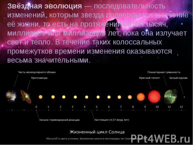 Звёздная эволюция— последовательность изменений, которымзвездаподвергается в течение её жизни, то есть на протяжении сотен тысяч, миллионов или миллиардов лет, пока она излучает свет и тепло. В течение таких колоссальных промежутков времени измен…