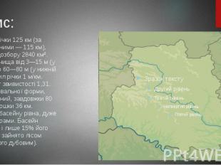 Опис: Довжина річки 125 км (за іншими даними — 115 км), площа водозбору 2840 км²
