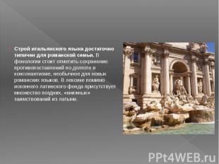 Строй итальянского языка достаточно типичен для романской семьи.В фонологи