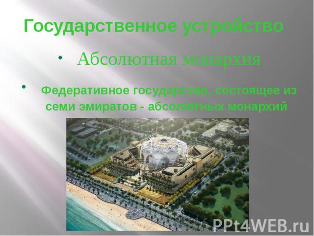 Государственное устройство Абсолютная монархия Федеративное государство, состоящее из семи эмиратов - абсолютных монархий