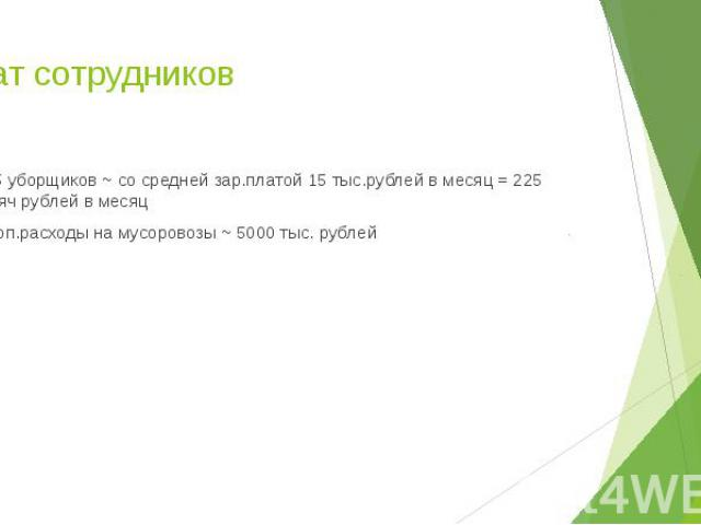 Штат сотрудников~ 15 уборщиков ~ со средней зар.платой 15 тыс.рублей в месяц = 225 тысяч рублей в месяц~ Доп.расходы на мусоровозы ~ 5000 тыс. рублей
