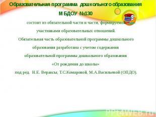 Образовательная программа дошкольного образования Образовательная программа дошк