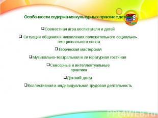 Особенности содержания культурных практик с детьми Совместная игра воспитателя и
