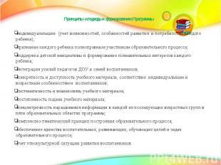 Принципы и подходы к формированию Программы индивидуализации (учет возможностей,