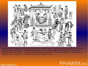 Царство Аида. В середине сидят Аид и Персефона, направо ниже — судьи Триптолем,
