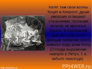 Катят там свои волны Коцит и Ахеронт; души умерших оглашают стенаниями, полными