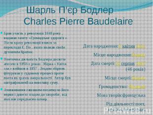 Шарль П'єр Бодлер Charles Pierre Baudelaire