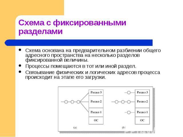 Схема основана на предварительном разбиении общего адресного пространства на несколько разделов фиксированной величины. Схема основана на предварительном разбиении общего адресного пространства на несколько разделов фиксированной величины. Процессы …
