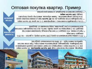 Оптовая покупка квартир. Пример Есть строящийся комплекс с квартирами 1+1 по цен
