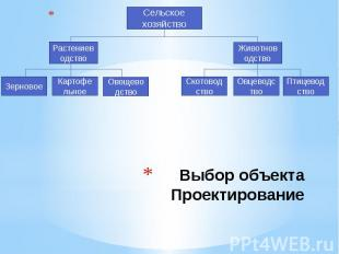 Выбор объекта Проектирование