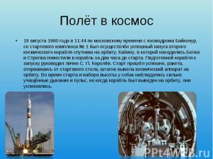 19 августа1960 годав 11:44 помосковскому временис космод