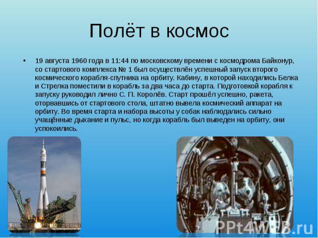 19 августа1960 годав 11:44 помосковскому временис космодромаБайконур, состартового комплекса №1был осуществлён успешный запуск второго космического корабля-спутника на орбиту. Кабину, в которой находил…