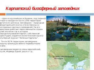 Карпатский биосферный заповедник - один из крупнейших в Украине, под охран