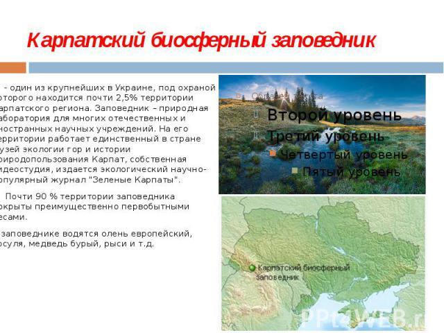 Карпатский биосферный заповедник - один из крупнейших в Украине, под охраной которого находится почти 2,5% территории Карпатского региона. Заповедник – природная лаборатория для многих отечественных и иностранных научных учреждений. На его тер…