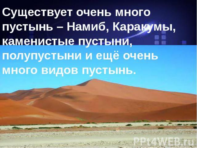 Существует очень много пустынь – Намиб, Каракумы, каменистые пустыни, полупустыни и ещё очень много видов пустынь.