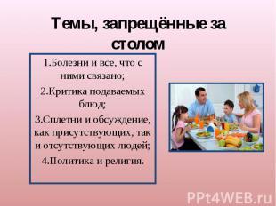 Темы, запрещённые за столом1.Болезни и все, что с ними связано;2.Критика подавае