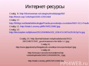 Интернет-ресурсыСлайд 8: http://sheiswoman.ru/category/moda/page/60/http://forum