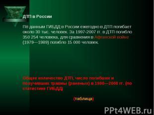 ДТП в России По данным ГИБДД в России ежегодно в ДТП погибает около 30 тыс. чело