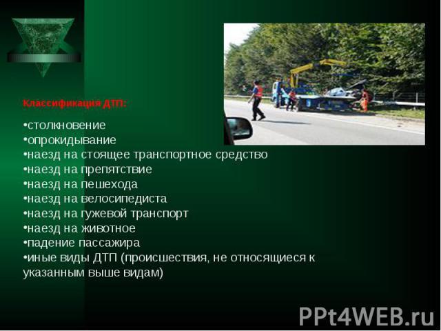 Классификация ДТП: столкновение опрокидывание наезд на стоящее транспортное средство наезд на препятствие наезд на пешехода наезд на велосипедиста наезд на гужевой транспорт наезд на животное падение пассажира иные виды ДТП (происшествия, не относящ…