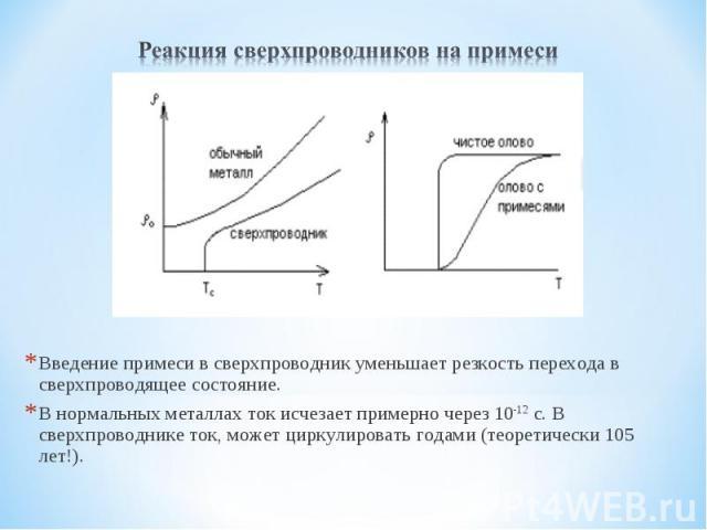 Реакция сверхпроводников на примесиВведение примеси в сверхпроводник уменьшает резкость перехода в сверхпроводящее состояние.В нормальных металлах ток исчезает примерно через 10-12 с. В сверхпроводнике ток, может циркулировать годами (теоретически 1…