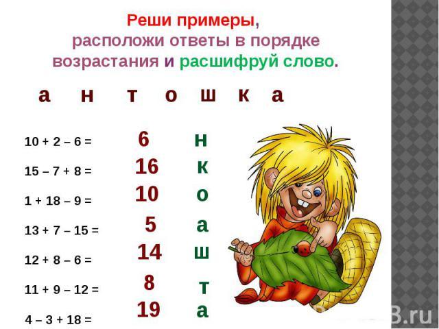 Реши примеры, расположи ответы в порядке возрастания и расшифруй слово.10 + 2 – 6 =15 – 7 + 8 = 1 + 18 – 9 = 13 + 7 – 15 =12 + 8 – 6 = 11 + 9 – 12 = 4 – 3 + 18 =