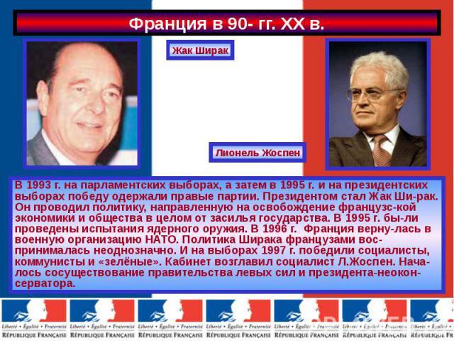 В 1993 г. на парламентских выборах, а затем в 1995 г. и на президентских выборах победу одержали правые партии. Президентом стал Жак Ши-рак. Он проводил политику, направленную на освобождение французс-кой экономики и общества в целом от засилья госу…